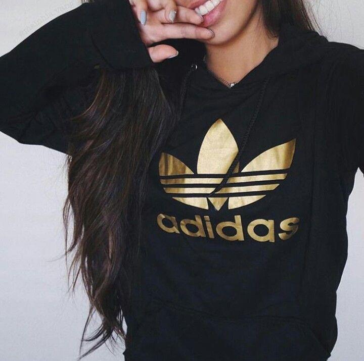 bluza adidas ze złotym logo