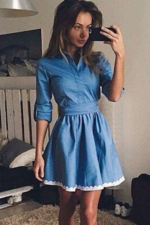 164495c2ee Dżinsowa sukienka z doszywanym paskiem z koronki - gdzie kupić ...