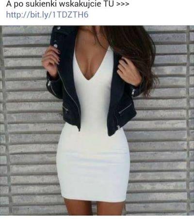 04ec580c2b Biała dopasowana sukienka z dekoltem V - gdzie kupić