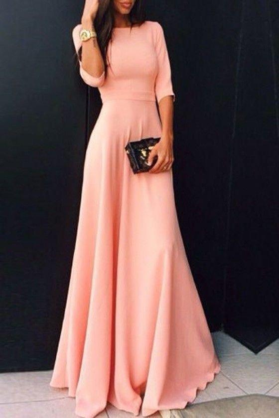 Brzoskwiniowa sukienka maxi