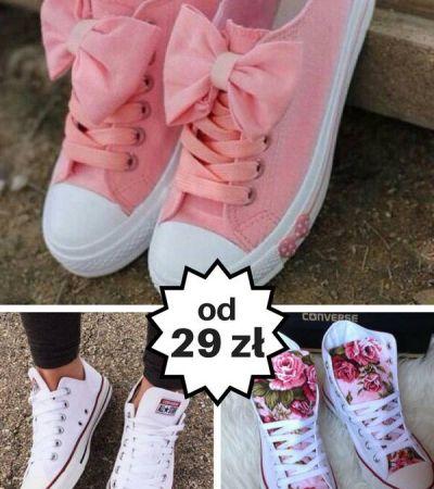 Różowe trampki z kokardą gdzie kupić ? , #buty, #różowy