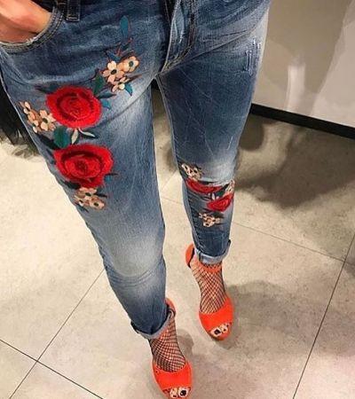 Masywnie Spodnie z kwiatowymi naszywkami - gdzie kupić ? , #kwiaty, #jeansy GB21