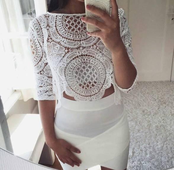 Cudowna Biały koronkowy crop top - gdzie kupić ? , #bluzka, #top, #biała RW15