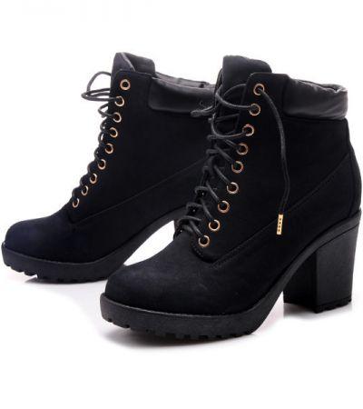 Topnotch Czarne botki na wiązanie - gdzie kupić ? , #czarne, #botki, #wiązane XL89